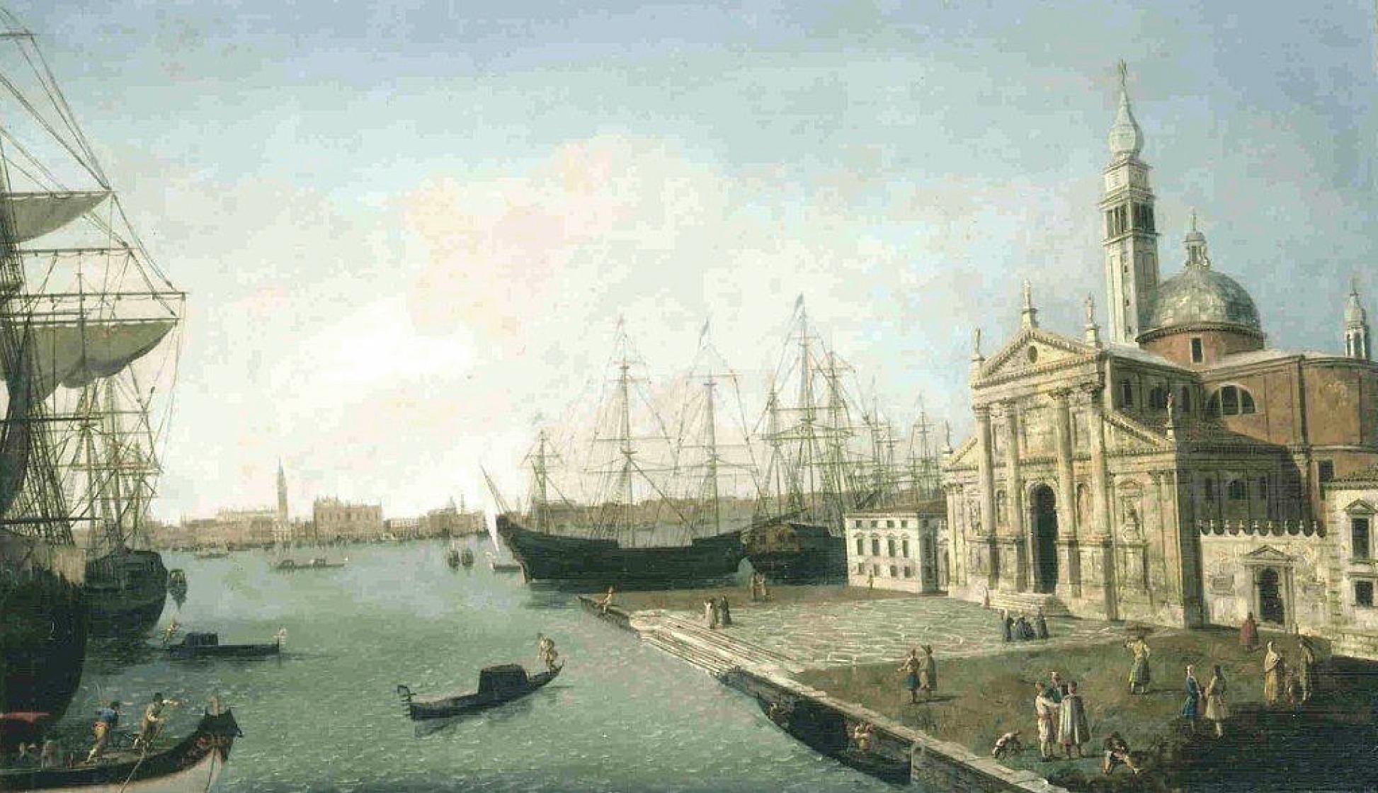San Giorgio Maggiore, Venecia, con el Palacio de los Dogos y la Riva degli Schiavoni